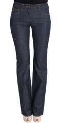 Blue Cotton Denim Flare Boot Cut Jeans