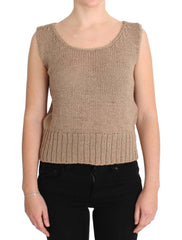 Beige Cotton Knitted Sleeveless Sweater