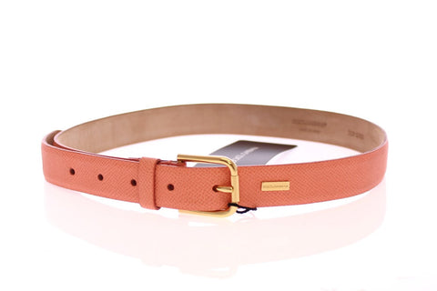 Pink Leather Gold Logo Belt
