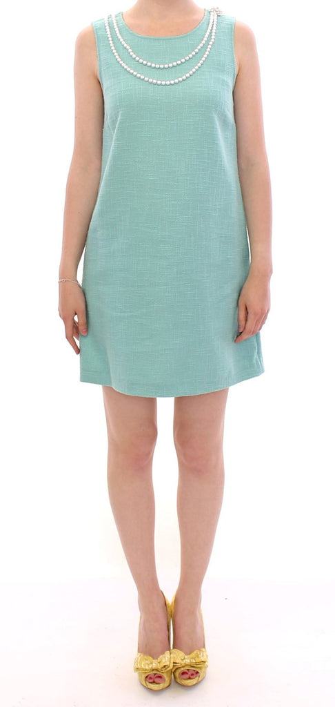 Green shift above knee dress
