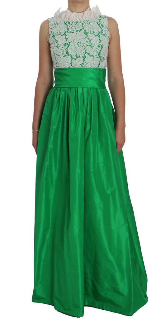 Green White Lace Silk Princess Maxi Dress