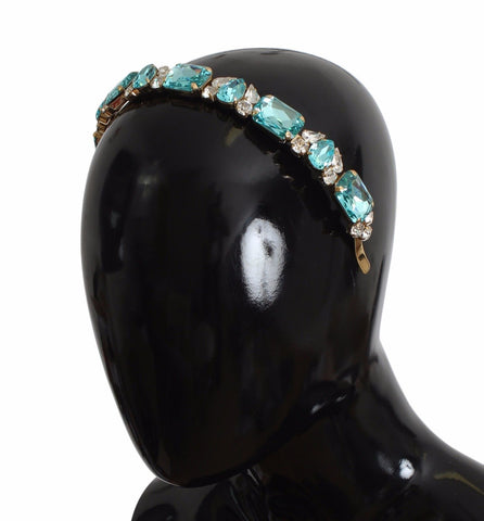 Diadem Headband Gold Brass Blue Clear Swarovski Crystal