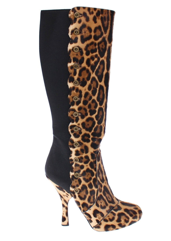 Brown Leopard Fur Leather Heel Logo Boots