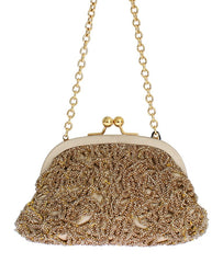 Gold sequined MISS DEA clutch bag