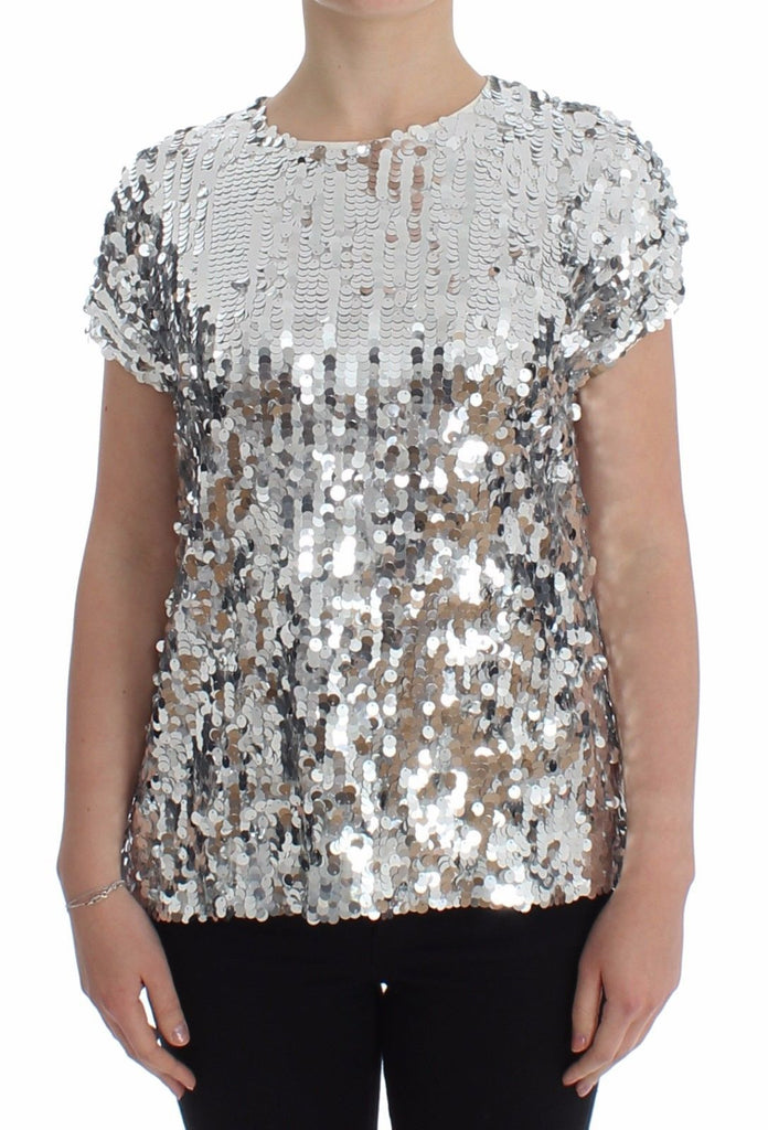 Silver Sequined Crewneck Blouse T-shirt Top