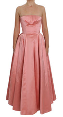 Pink Silk Ball Gown Full Length Dress