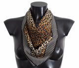 Brown Leopard Polka Dotted Silk Scarf
