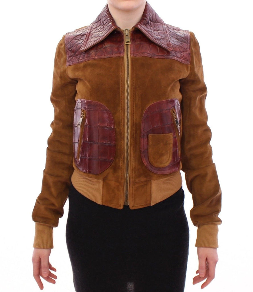 Brown Alligator Suede Leather Jacket