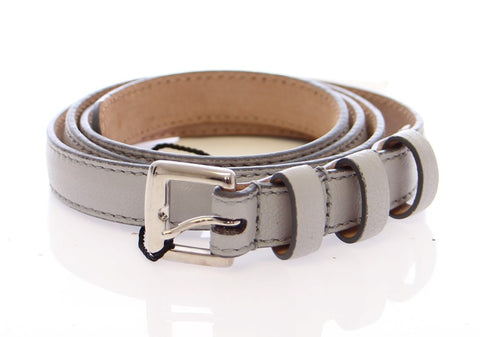 Gray Leather Logo Belt