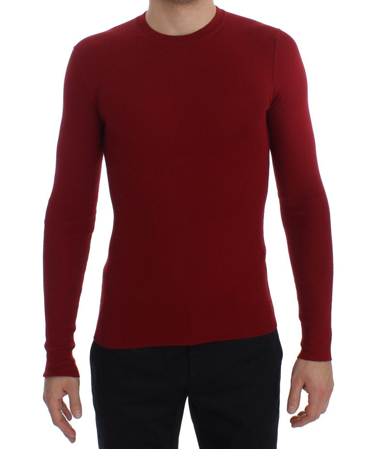 Red Cashmere Ribbed Pullover Sweater
