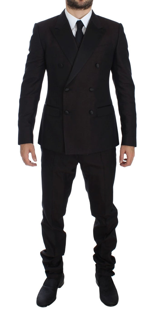 Purple Black Silk Slim 3 Piece Suit Tuxedo