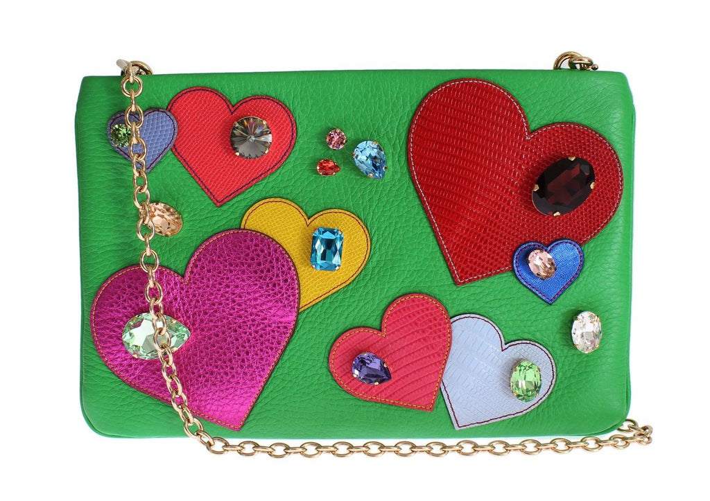 Purse Green Leather Heart Crystal Clutch