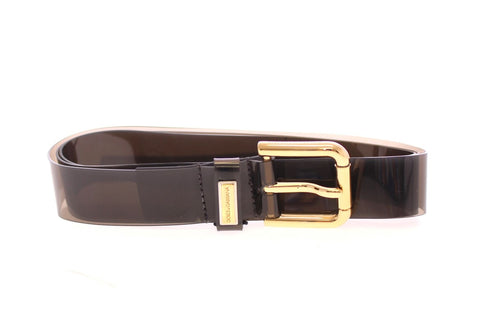 Black Plastic Gold Logo Belt