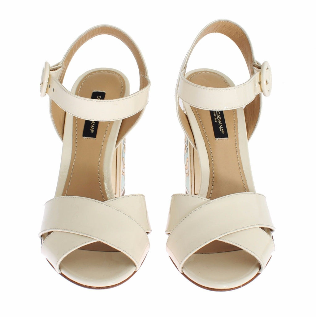 White Leather Majolica Print Sandals Shoes