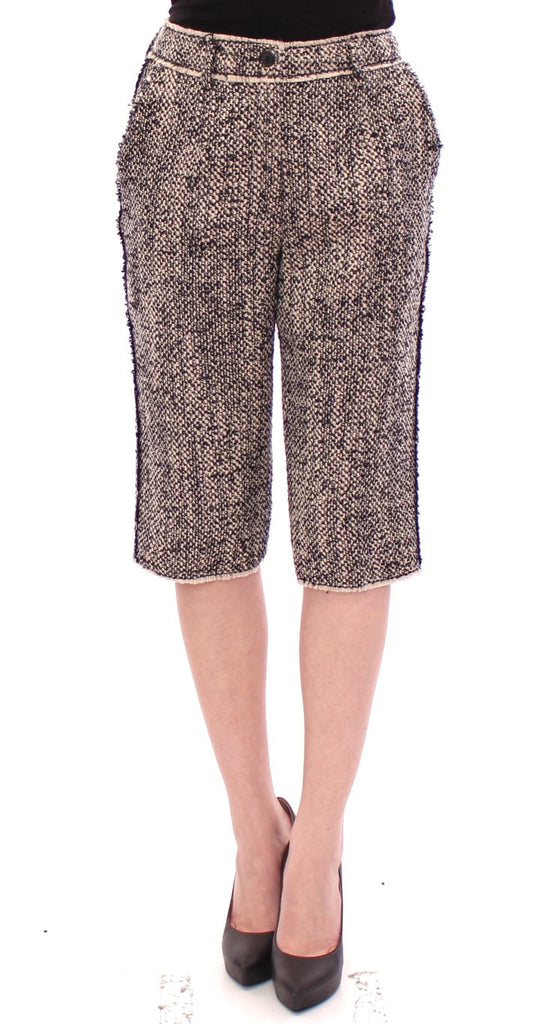 Black white wool shorts pants