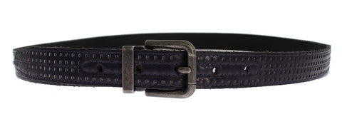 Purple Perforated Leather Buckle Belt