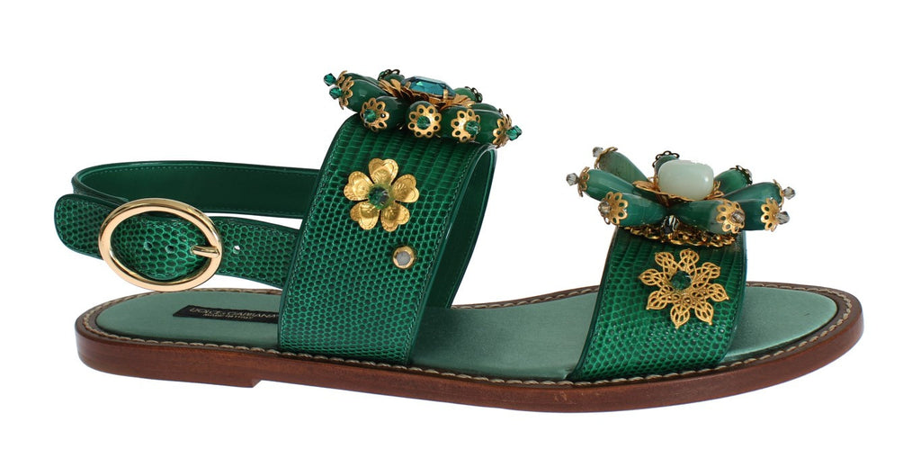 Green Leather Crystal Sandals