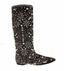 Brown Velvet Silver Baroque Crystal Boots