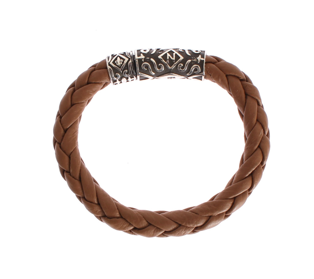 Brown Soft Leather 925 Silver Bracelet
