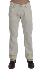 Beige Cotton Stretch Regular Fit Jeans