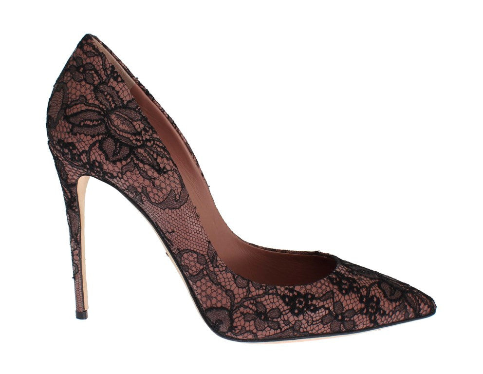 Pink Leather Black Lace Stiletto Heel Shoes