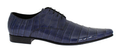 Blue Crocodile Derby Formal Dress Shoes