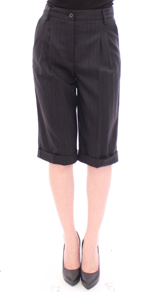 Black Wool Striped Pattern Shorts Pants