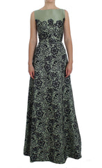 Green Floral Lace Silk Princess Maxi Dress