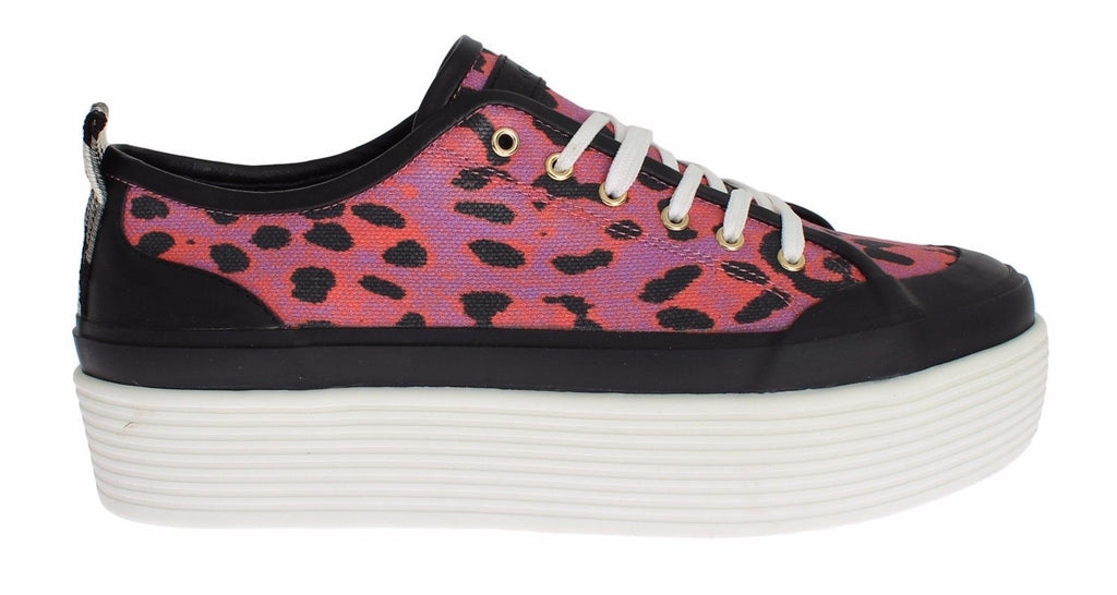 Womens Pink Leopard Denim Sneakers Shoes