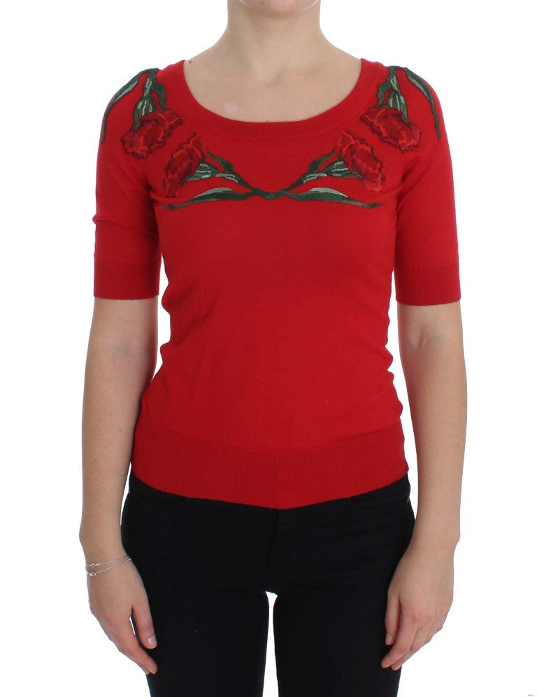 Red Roses Applique Pullover Sweater