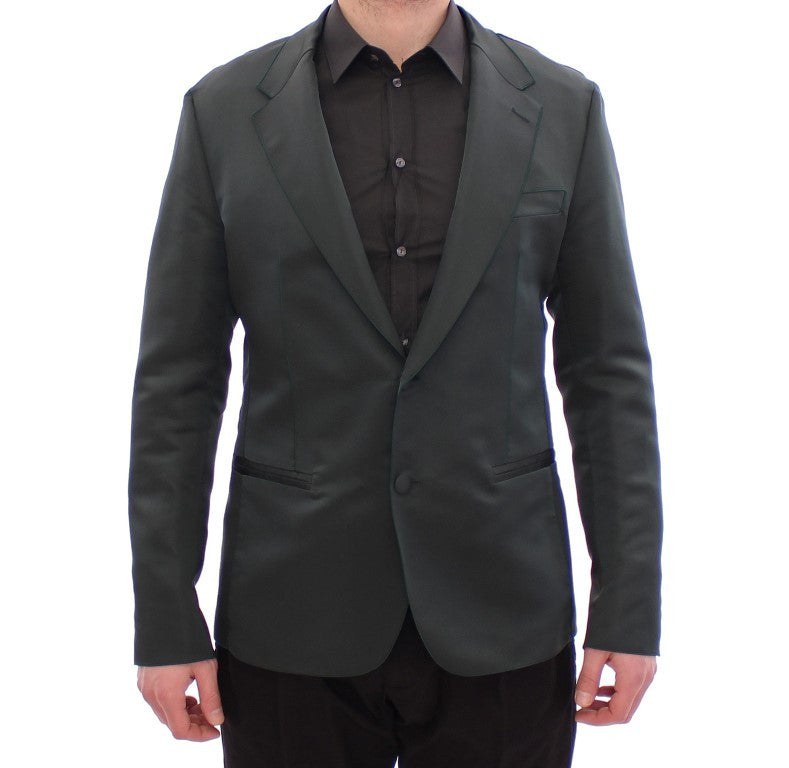 Green silk slim fit blazer
