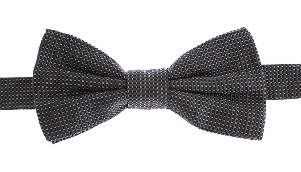 Gray Silk Tied Bow Tie