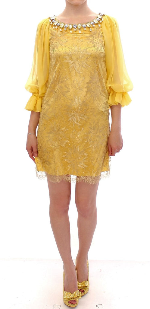 Yellow lace crystal mini dress