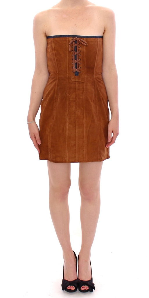 Brown leather shift dress