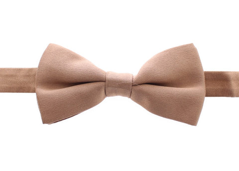 Beige Solid Silk Tied Bow Tie