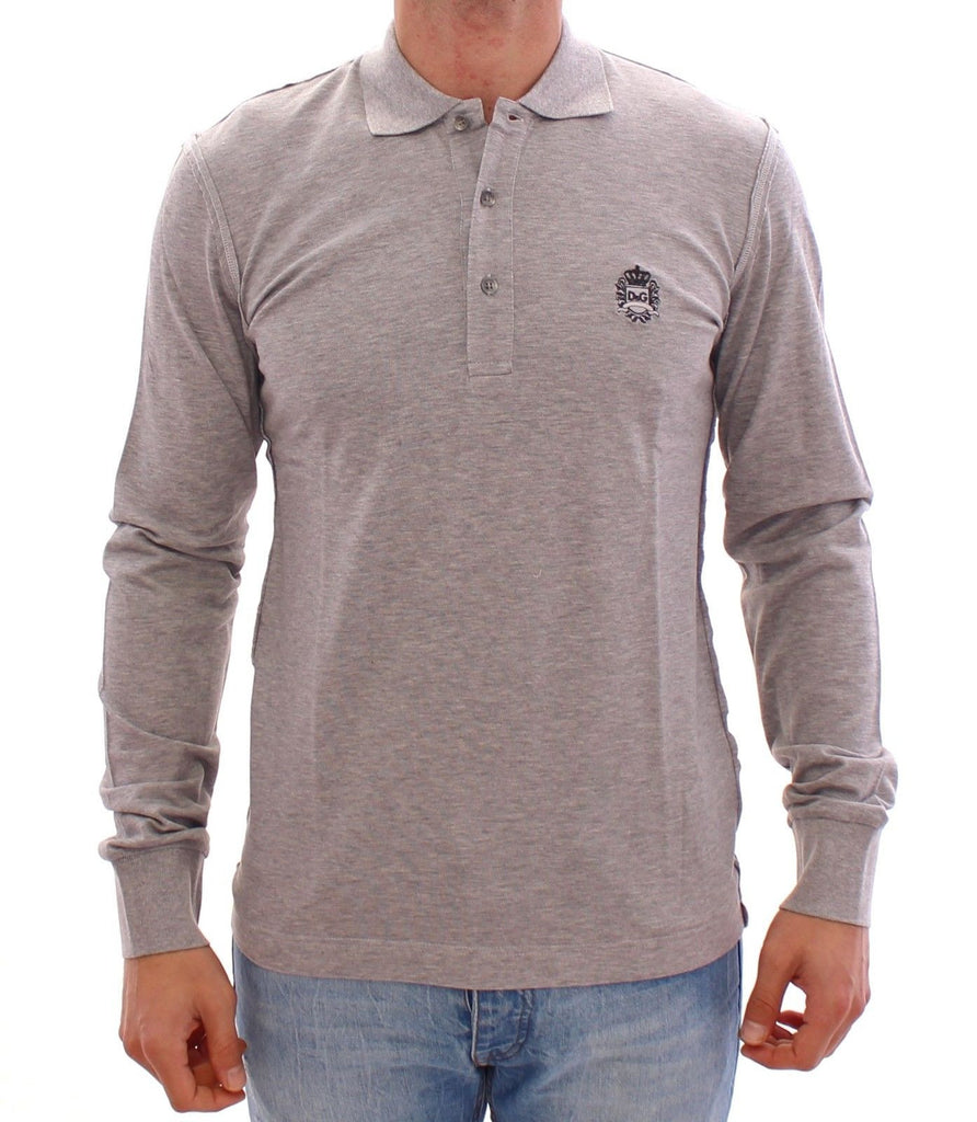 Gray Long Sleeve Polo Sweater Pullover