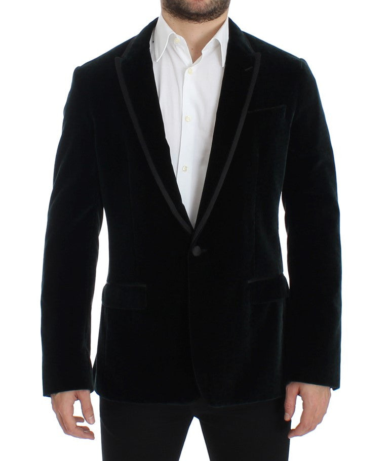 Green velvet MARTINI slim fit blazer