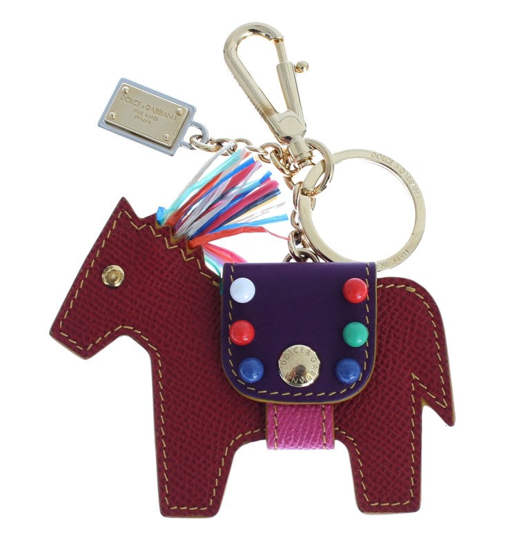 Red Leather Horse Studded Clasp Keychain