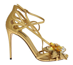 Gold Leather Floral Crystal Stiletto Shoes