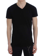 Black Cotton Stretch V-neck Beachwear T-shirt