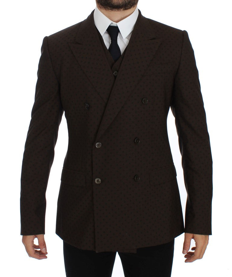 Brown Slim Fit Wool Stretch Blazer