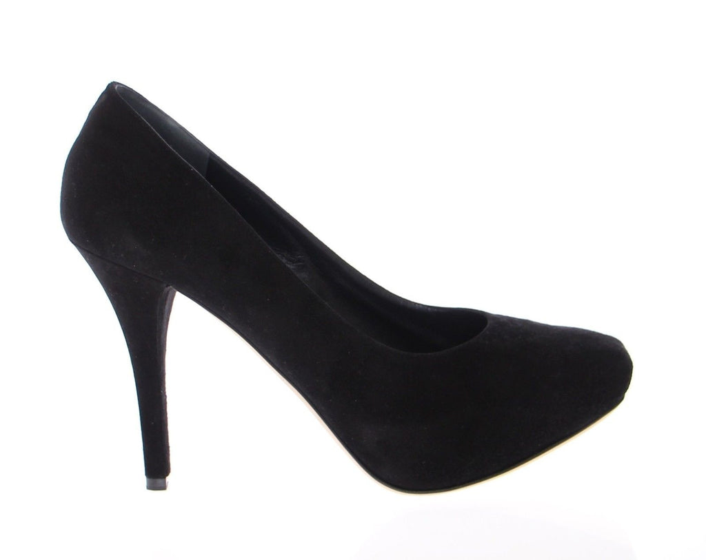 Black Suede Leather Platform Pumps Shoes