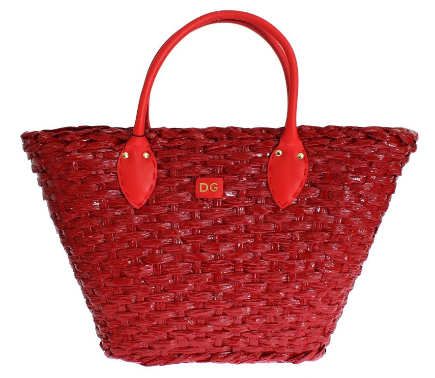 Red woven shopping tote