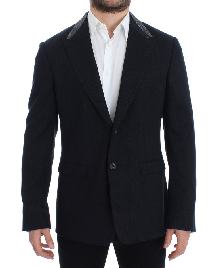 Blue wool two button blazer