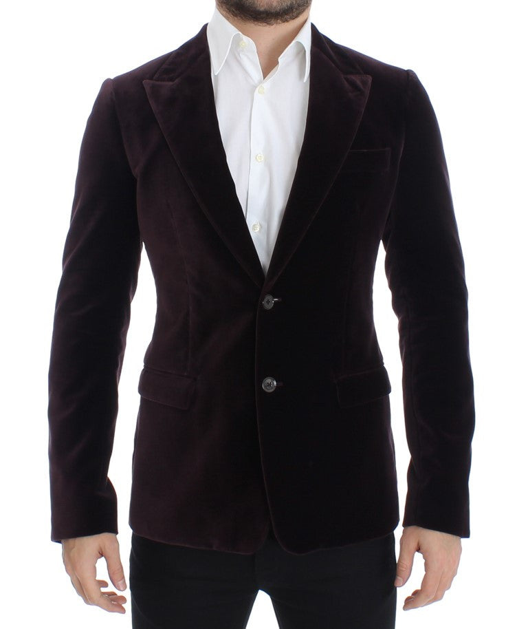 Purple velvet slim fit blazer
