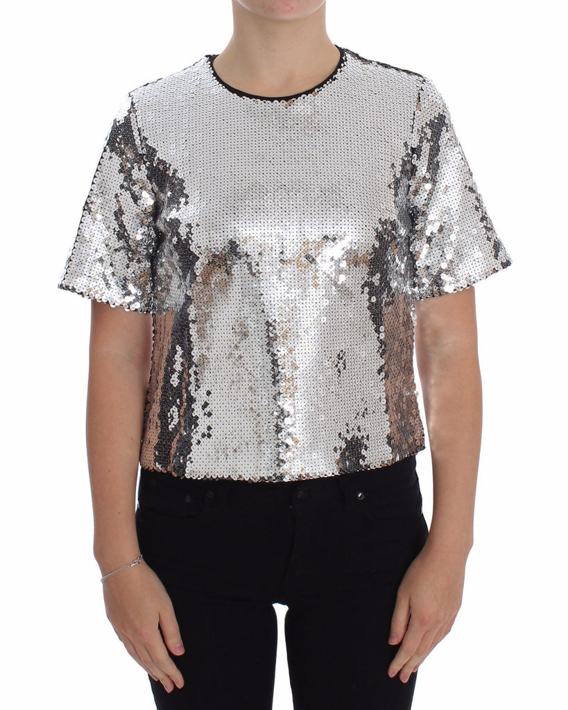 Blouse T-shirt Top Silver Sequined Crewneck