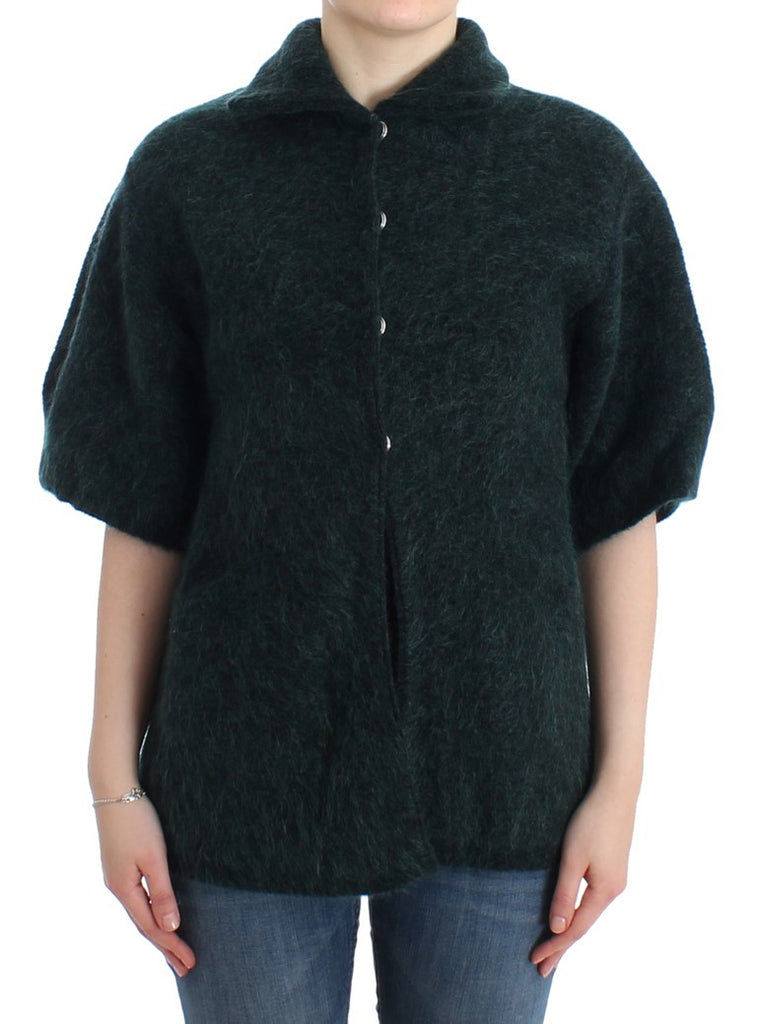 Green mohair knitted cardigan