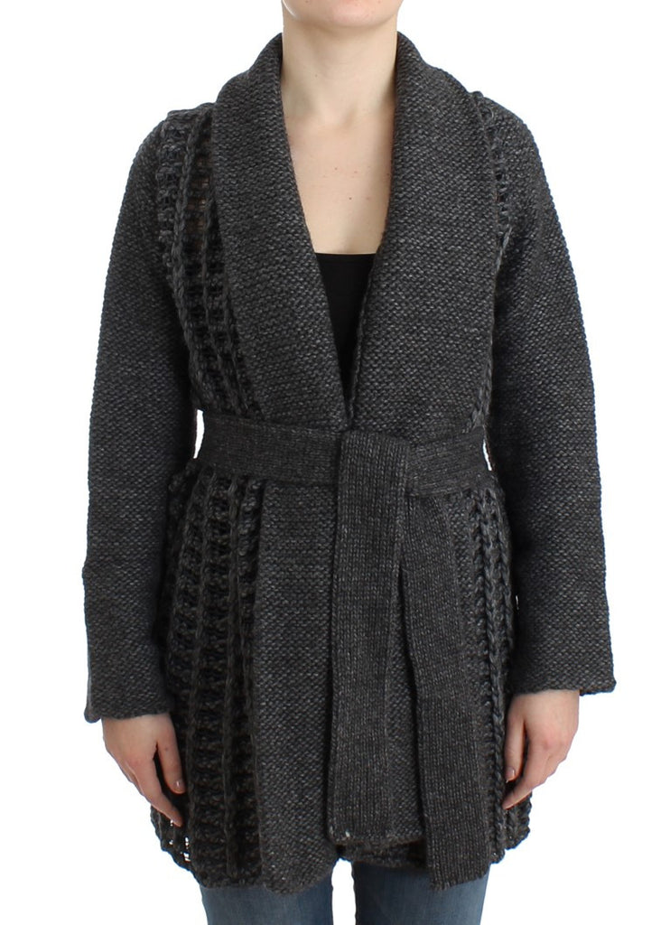 Gray heavy-weight wool cardigan