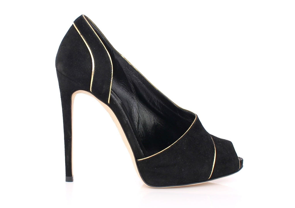 Black Suede Platform Peep-Toe Pumps Shoes