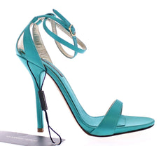 Blue Silk Ankle Strap Sandals Heels Shoes